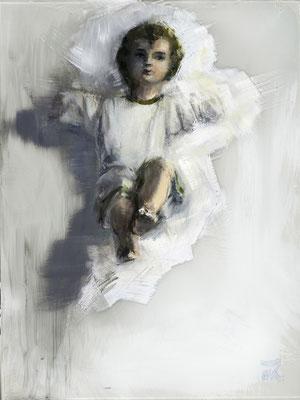 Alice Haring, Engerl, 2014,  Öl auf Glas, 20x15cm