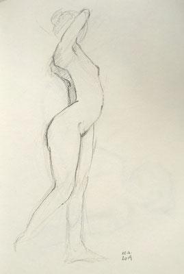 Alice Haring, Akt-Studie 2019, Graphit auf Papier, 28x21cm