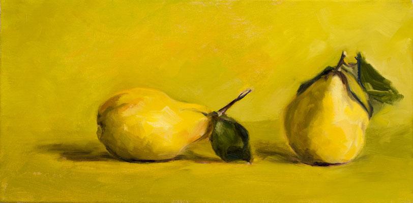 Alice Haring, Quitten, 2020,  Öl auf Leinwand, 20x50cm