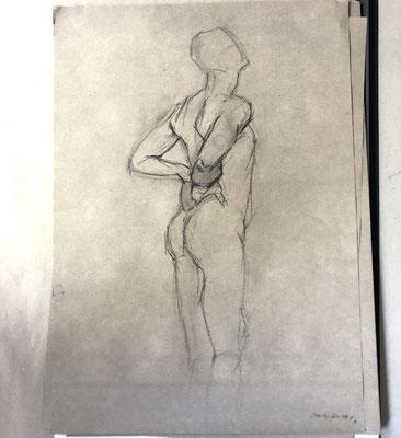 Alice Haring, Akt-Studie 2019, Kohle auf Papier, 70x50cm