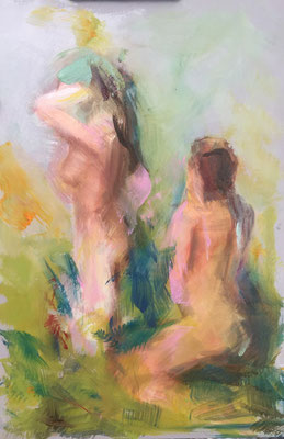 Alice Haring, zwei Frauen  2019, Öl auf Karton,  30x20cm