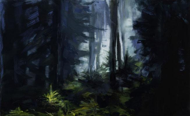 Alice Haring, Lichtung, 2015,  Öl auf Glas, 32x52cm
