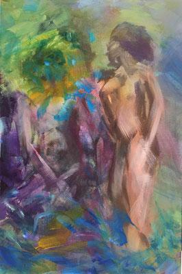 Alice Haring, Dschungel  2019, Öl auf MDF,  30x20cm