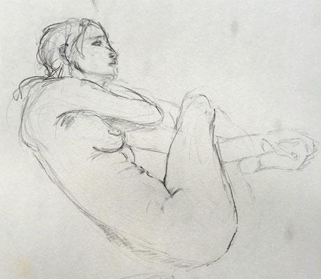 Alice Haring, Akt-Studie 2019, Graphit auf Papier, 22x29cm
