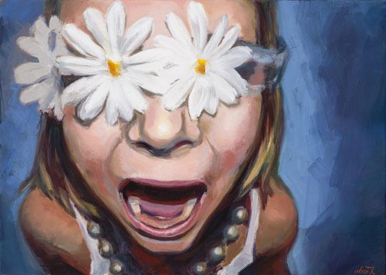 Alice Haring, Naimas Schrei, 2014,  Öl auf Leinwand, 50x70cm