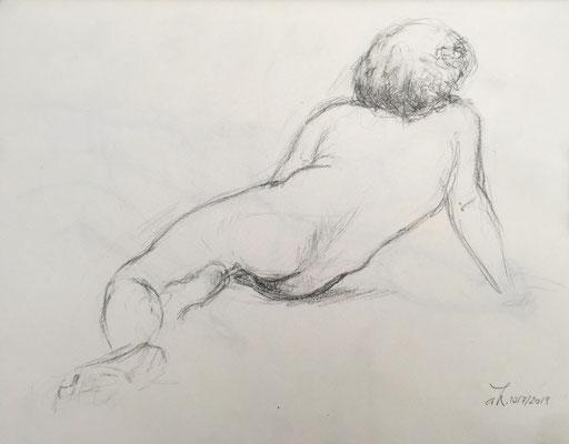 Alice Haring, Akt-Studie 2019, Graphit auf Papier, 21x28cm