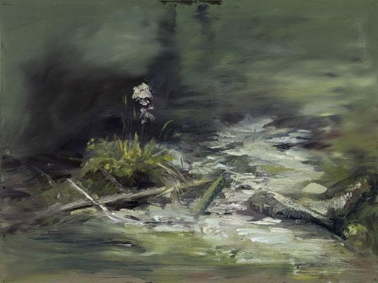 Alice Haring, Leben am Stein, 2015,  Öl auf Glas, 40x50cm