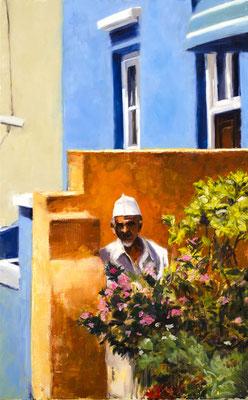Alice Haring, Der Mann aus Kapstadt, 2011,  Öl auf Leinwand, 100x100cm
