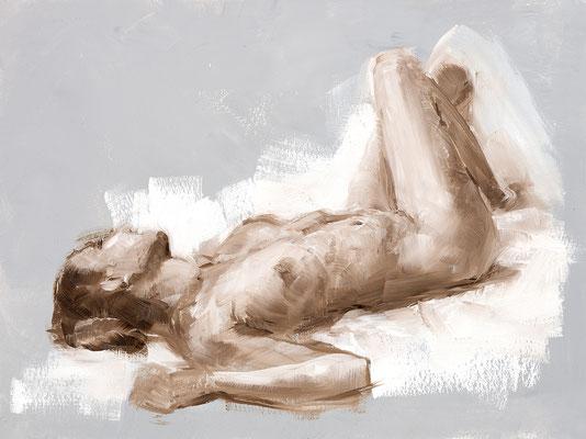 Alice Haring, Liegender Clara  2019, Öl auf Papier,  30x40cm