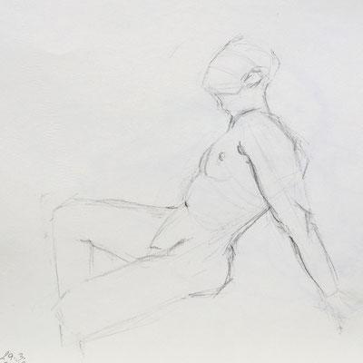 Alice Haring, Akt-Studie 2019, Graphit auf Papier, 50x70cm