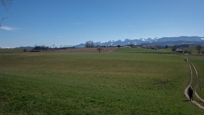 Wetterhorn, Rosenhorn, Schreckhorn+Lauteraarhorn, Eiger, Mönch, Jungfrau und Gantrischkette