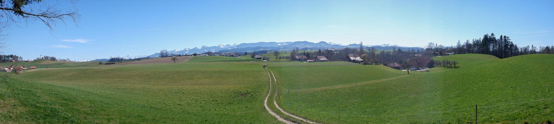 Panoramablick in Richtung Gantrisch und Alpen