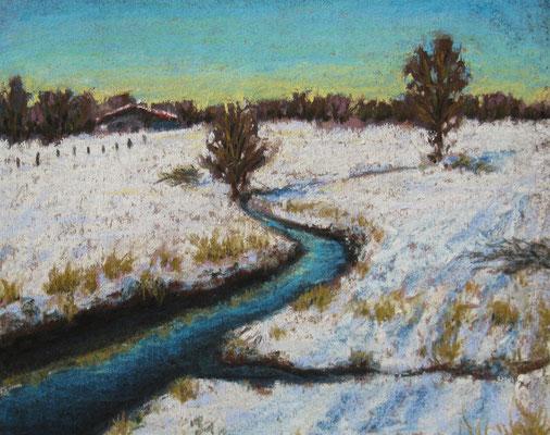 """""""Erster Schnee"""", Pastell, 22 x 18 cm, 250 Euro"""