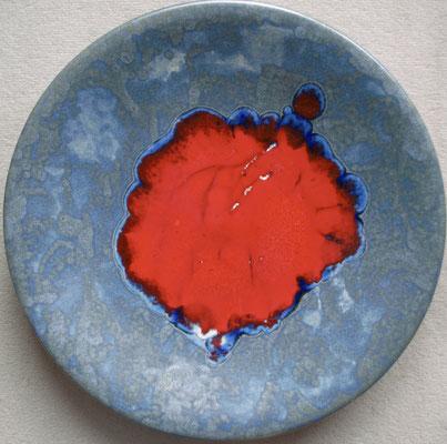 Taubenblau und Rot - Teller