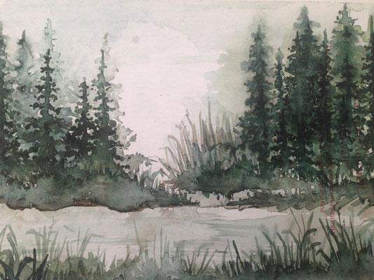 Landschaft, Aquarell  2019, Laura Bürgermeister
