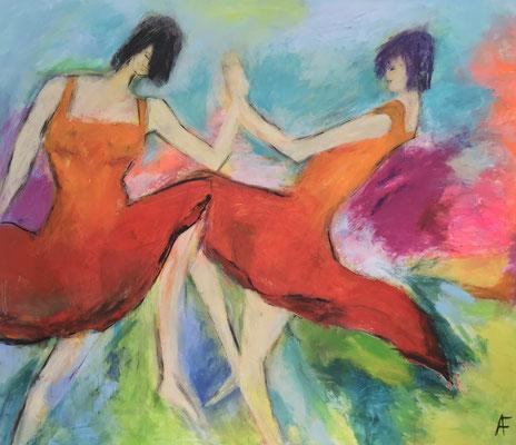 Tanzende Mädchen, 140 x 120 cm Acryl auf Leinwand