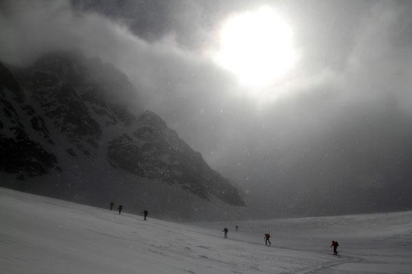 Sturm im Anstieg zum Monte Pasquale