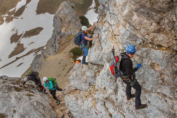 Seilbrücke im Klettersteig