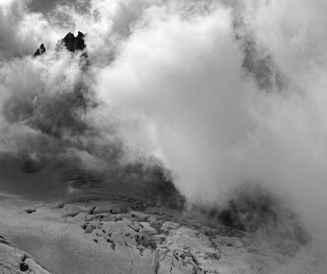 B&W: Glacier du Géant, Montblanc, Frankreich