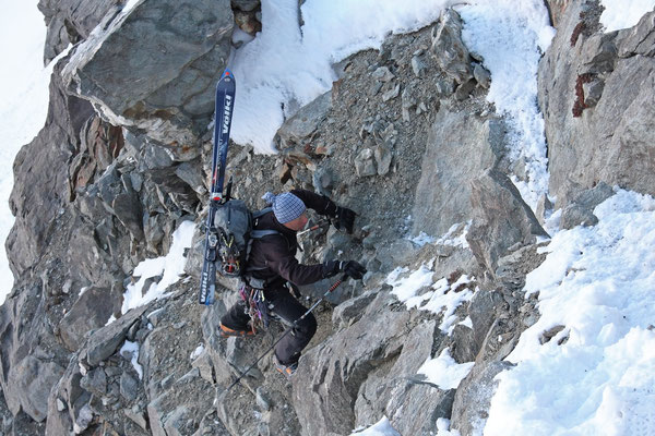 Kletterei zum Col de Gouille, 3150m