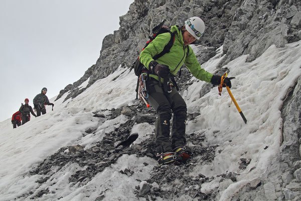 Nach den Felsen - Abstieg auf den Gletscher