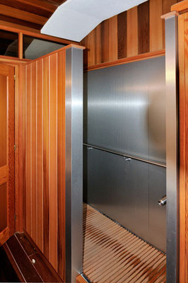 Wooden and aluminum shower