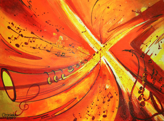 CO-O1 Odem / Acryl auf leinwand 50x70  Experiment mit flueszierender Farbe