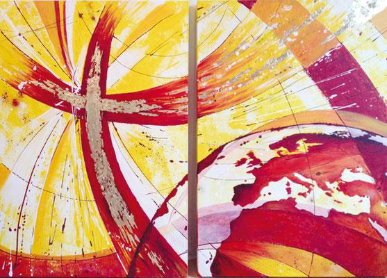 CO-G5 Grenzenlose Liebe / acryl auf Leinwand 2x 70x100 / Auftragsbild f Gebetshaus Ramsen