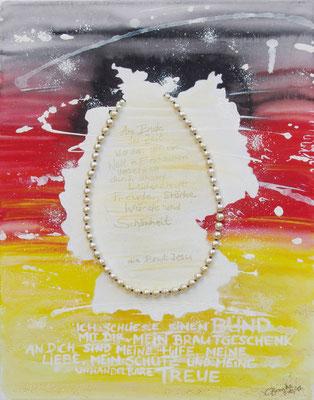 CO-B2 Bund / Acryl auf Leinwand 30x40 mit Kunstperlenkette