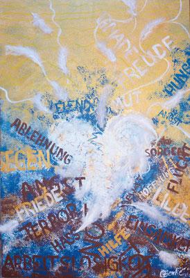 CO-L6_Leise wirbstdu / Acryl auf leinwand 50x70 mit Federn /  nur noch als Karte erhältlich