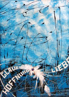 CO-G2_Göttliches Gen / Acryl auf Leinwand 50x70 mit Federn und Stein
