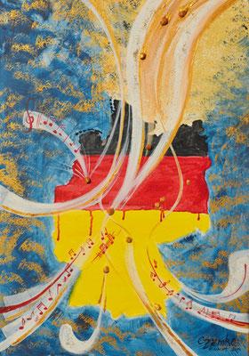CO-W4_WindGottes  /  Acryl auf Leinwand 50x70 mit Kunst-Goldsteinchen