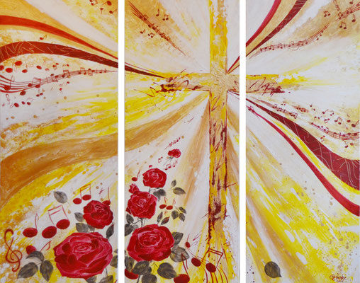 Co-K3 Kreuz  / Acryl auf Leinwand 3 x 40x100