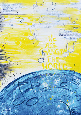 CO-C1 ChangingTheWorld / Acryl auf Leinwand / Livve vom Gospelday / versteigert