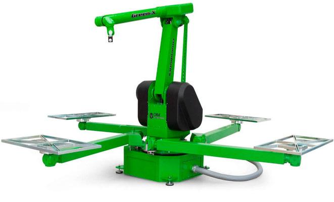 robot industriel 6 axes peinture auto CMA Robotics hdpr avec caroussel