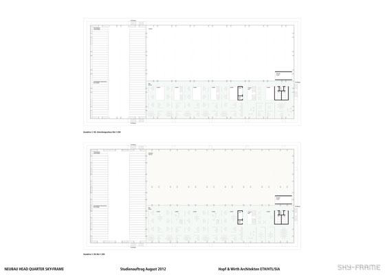 Hopf & Wirth Architekten ETH HTL SIA Winterthur, Wettbewerb Head Quarter Sky-Frame AG, Frauenfeld, 2. Obergeschoss