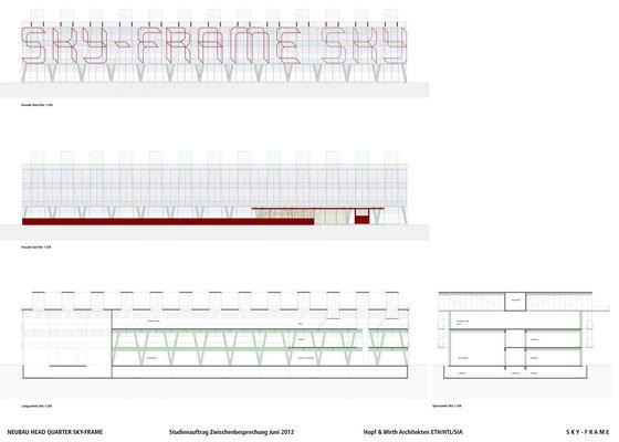 Hopf & Wirth Architekten ETH HTL SIA Winterthur, Wettbewerb Head Quarter Sky-Frame AG, Frauenfeld, 1. Stufe Schnitte Fassaden