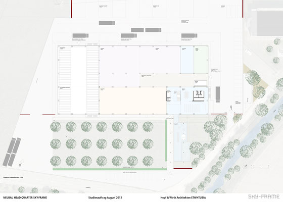 Hopf & Wirth Architekten ETH HTL SIA Winterthur, Wettbewerb Head Quarter Sky-Frame AG, Frauenfeld, Erdgeschoss