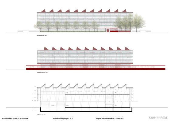 Hopf & Wirth Architekten ETH HTL SIA Winterthur, Wettbewerb Head Quarter Sky-Frame AG, Frauenfeld, Fassaden, Schnitt