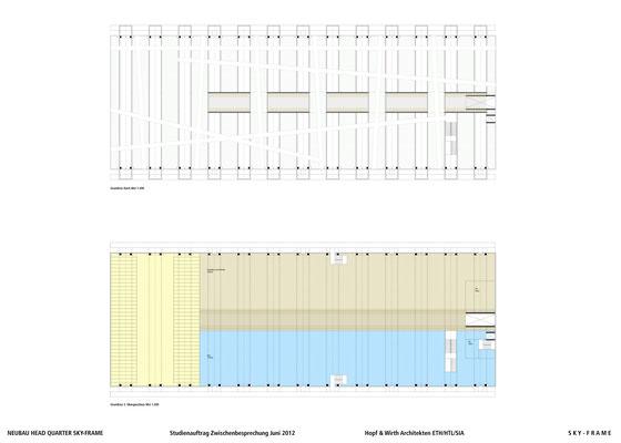 Hopf & Wirth Architekten ETH HTL SIA Winterthur, Wettbewerb Head Quarter Sky-Frame AG, Frauenfeld, 1. Stufe 2. Obergeschoss / Dach
