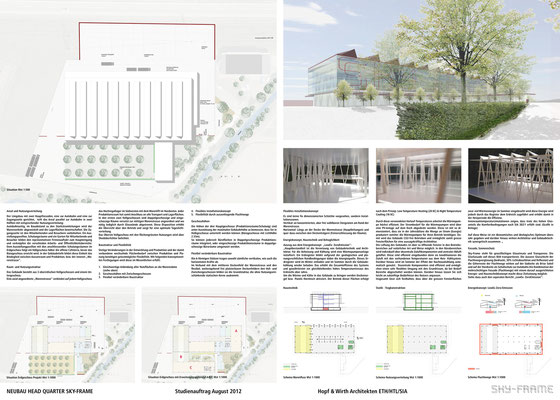 Hopf & Wirth Architekten ETH HTL SIA Winterthur, Wettbewerb Head Quarter Sky-Frame AG, Frauenfeld, Situation / Erläuterungen