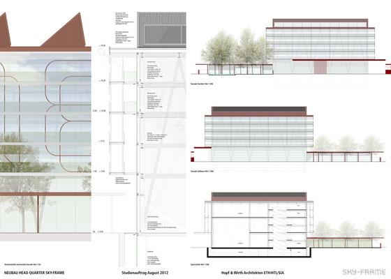 Hopf & Wirth Architekten ETH HTL SIA Winterthur, Wettbewerb Head Quarter Sky-Frame AG, Frauenfeld, Fassaden, Schnitte Konstruktion