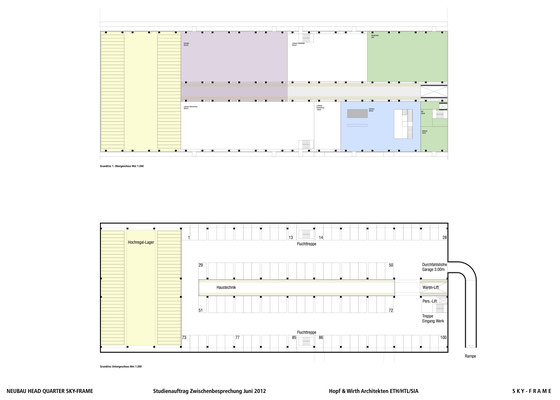 Hopf & Wirth Architekten ETH HTL SIA Winterthur, Wettbewerb Head Quarter Sky-Frame AG, Frauenfeld, 1. Stufe Untergeschoss / Erdgeschoss