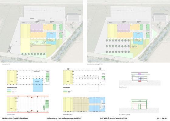 Hopf & Wirth Architekten ETH HTL SIA Winterthur, Wettbewerb Head Quarter Sky-Frame AG, Frauenfeld, 1. Stufe Schemen