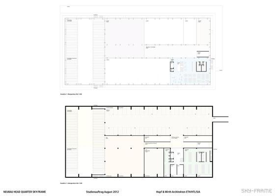Hopf & Wirth Architekten ETH HTL SIA Winterthur, Wettbewerb Head Quarter Sky-Frame AG, Frauenfeld, 1. Obergeschoss