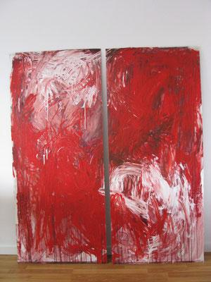 ROT UND WEISS; 2 x 72*165; Acryl auf Leinwand