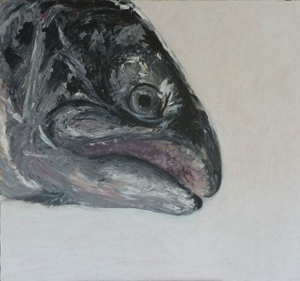 Fisch schwarz/weiß; 103*114cm; Acryl auf Leinwand