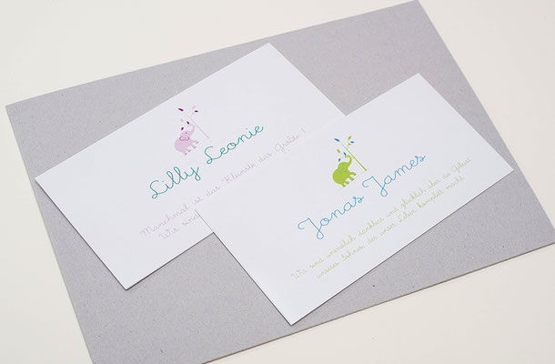 Geburtskarten künstlerisch und individuell gestaltet mit Bild, Geburtsdaten und dem Namen des Kindes und auf Wunsch der Eltern.