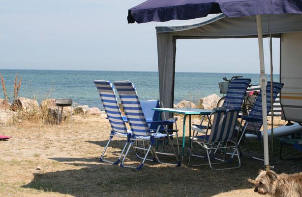 Unser wunderschöner Stellplatz unmittelbar am Strand
