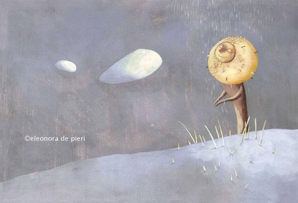 Illustration d'un dieu de la nature à la crinière de lion inspiré de Hayao Miyazaki et du Magicien d'Oz par l'illustratrice Eleonora De Pieri